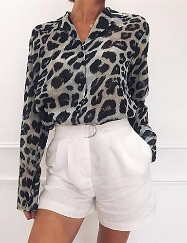 billige Topper til damer-Løstsittende Skjortekrage Bluse Dame - Leopard, Lapper / Trykt mønster Hvit