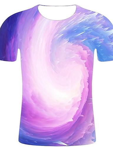 cheap Men's Clothing-Men's T-shirt - Geometric / 3D / Graphic Print Purple XXL