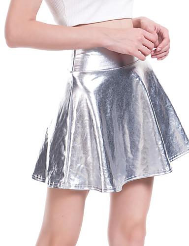 billige Skjørt-Dame Sexy PU Mini Huske Skjørt Ensfarget Sølv L