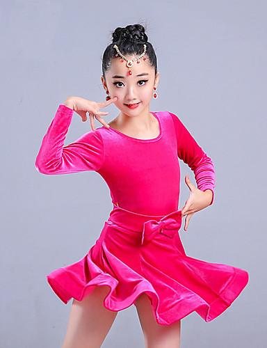 b24e2e55d Latin Dance / Kids' Dancewear Dresses Girls' Training / Performance Pleuche  Sash / Ribbon / Wave-like Long Sleeve Dress