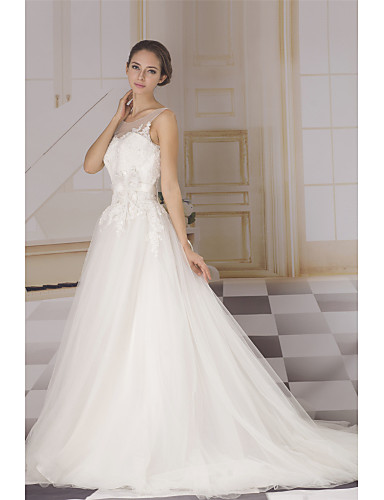 cheap Wedding Dresses-A-Line Bateau Neck Court Train Lace / Tulle / Sequined Made-To-Measure Wedding Dresses with Lace / Sashes / Ribbons by ANGELAG