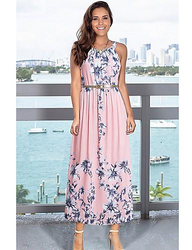 f606c3b2bf4c dámské maxi swing šaty halter krk popruh fialové červenající růžové modré s  m l xl