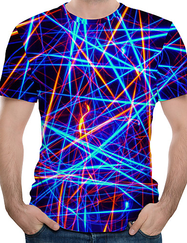 cheap Graphics Tees-Men's Plus Size Cotton T-shirt - 3D Print Round Neck Royal Blue XXXXL