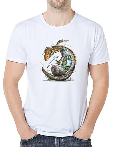cheap Men's Tees & Tank Tops-Men's Basic Plus Size Slim T-shirt - Graphic / Cartoon Round Neck White XXL