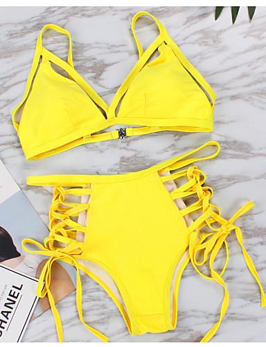 billige Dametopper-Dame Hvit Svart Gul Grime Cheeky Bikini Badetøy - Ensfarget Åpen rygg M L XL Hvit