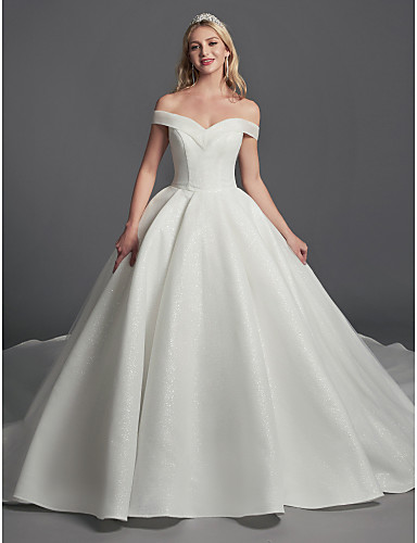 cheap Wedding Dresses-Meghan Markle Inspired  Ball Gown Off Shoulder Cathedral Train Organza / Satin Made-To-Measure Wedding Dresses with Draping by LAN TING BRIDE®
