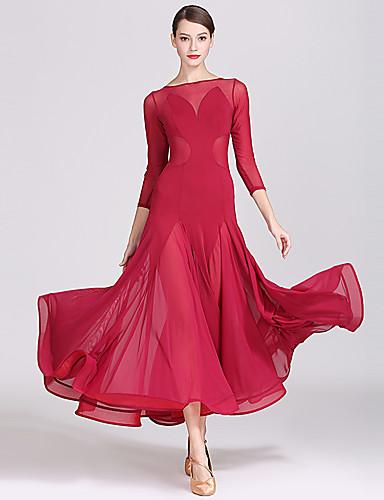 a093833d3a90 Ballroom Dance Dresses Women's Training / Performance Mesh / Ice Silk Split  Joint Long Sleeve High Dress