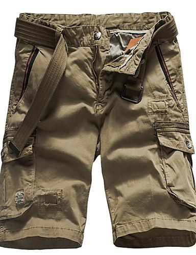 Męskie Podstawowy Szczupła Szorty Spodnie - Solidne kolory Bawełna Szary Zieleń wojskowa Khaki 34 36 38