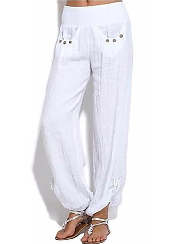 abordables Pantalons Femme-Femme Bohème Grandes Tailles Ample Chino Pantalon - Couleur Pleine Fendu / Mosaïque Taille haute Noir Blanche Vert Véronèse S M L