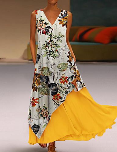 abordables Robes Femme-Femme Maxi Deux Pièces Robe Fleur Blanc Jaune XXXL XXXXL XXXXXL Sans Manches