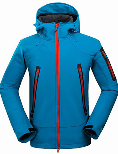 cheap Outdoor Clothing-Men's Hiking Softshell Jacket Hiking Jacket Outdoor Spring Fall Waterproof Thermal / Warm Windproof Anti-Wear Jacket Top Fleece Full Length Visible Zipper Camping / Hiking Climbing Traveling Blue