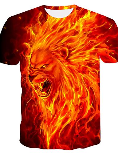cheap Men's Tees & Tank Tops-Men's Plus Size T-shirt - Animal Print Round Neck Orange XXL / Summer