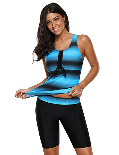 cheap Wetsuits, Diving Suits & Rash Guard Shirts-Women's Tankini Swimwear Top Bottoms High Elasticity Stretchy Swimming Water Sports Textured Spring Summer Fall