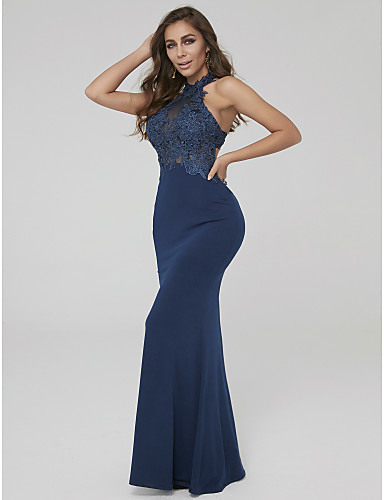 f62f19597fc Sheath   Column Halter Neck Floor Length Lace   Jersey Formal Evening Dress  with Appliques by TS Couture®