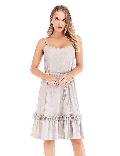 bd793dd84b3d Women's Sophisticated Elegant A Line Dress - Solid Colored Sequins Criss  Cross Silver L XL XXL