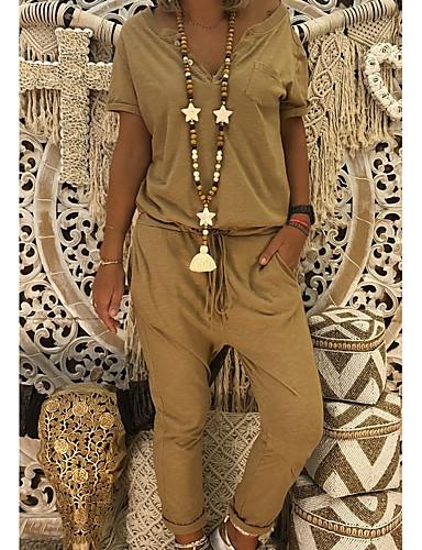 abordables Hauts pour Femmes-Femme Basique Noir Chameau Gris Combinaison-pantalon, Couleur Pleine XXXL XXXXL XXXXXL