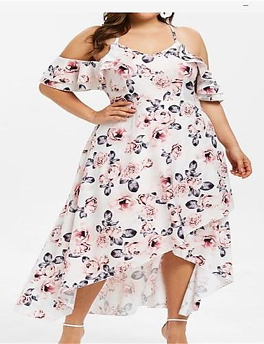 voordelige Grote maten jurken-Dames Elegant Wijd uitlopend Jurk - Geometrisch, Meerlaags Ruche Print Midi