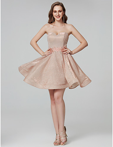 14271840eddb A-Line Strapless Short / Mini Sequined Sparkle & Shine Formal Evening Dress  with Crystals / Sash / Ribbon by TS Couture®