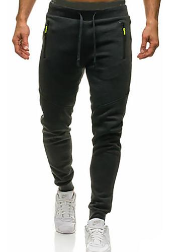 お買い得  メンズパンツ&ショーツ-男性用 スポーティー チノパン パンツ - ソリッド ブラック