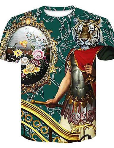 cheap Men's Tees & Tank Tops-Men's Plus Size T-shirt - 3D / Plaid / Animal Print Round Neck Green XXL
