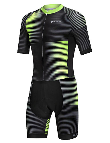 cheap Cycling Clothing-Nuckily Men's Short Sleeve Triathlon Tri Suit - Black / Green Gradient Bike Windproof Breathable Quick Dry Sports Spandex Gradient Mountain Bike MTB Road Bike Cycling Clothing Apparel / Micro-elastic