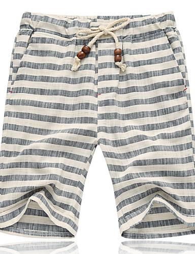 cheap 7/10-Men's Basic Plus Size Loose Shorts Pants - Striped Cotton Red Gray XXXL XXXXL XXXXXL