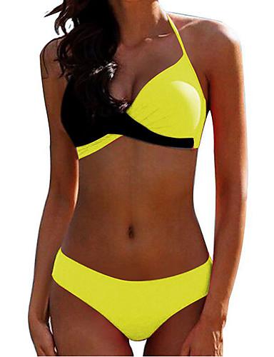 2f7a80275 Mujer Básico Amarillo Verde Claro Fucsia Halter Pícaro Bikini Bañadores -  Un Color Espalda al Aire XL XXL XXXL Amarillo