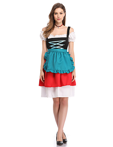 cb6f45f1cc4da Women's Beer Festival Oktoberfest Costume Dirndl Elegant A Line Dress -  Color Block Criss Cross Strap Red L XL XXL