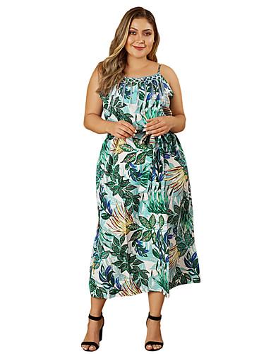66db216dcef Недорогие Коллекция больших размеров-Жен. Оболочка Платье - Цветочный принт  Средней длины