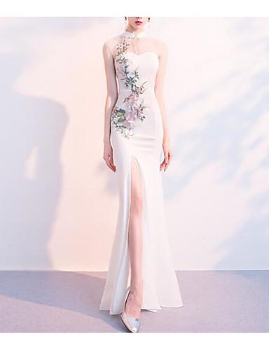 A Sirena Collo Alto Lungo Tulle Vestito Con Con Applique Di Lan Ting Express #07338595