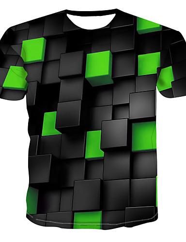 cheap Men's Tees & Tank Tops-Men's T-shirt - 3D Print Round Neck Green XXXXL