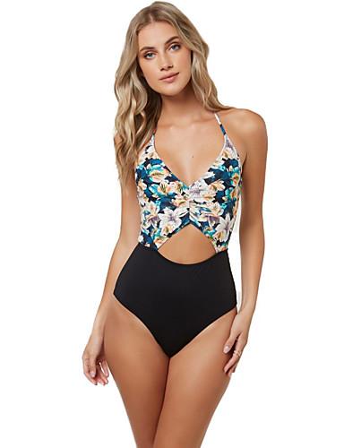 voordelige 2019 Trends-Dames Standaard Zwart Halter Cheeky Eendelig Zwemkleding - Bloemen Kleurenblok Blote rug M L XL Zwart
