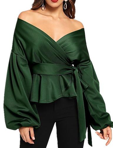 abordables Hauts pour Femme-Chemise Femme, Couleur Pleine Lacet Elégant Col en V Vert