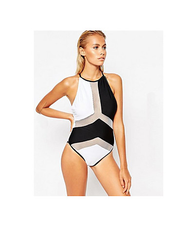 2610fd2fb8 Women's Basic Black Purple Yellow High Neck Cheeky One-piece Swimwear -  Solid Colored Color Block Backless M L XL Black