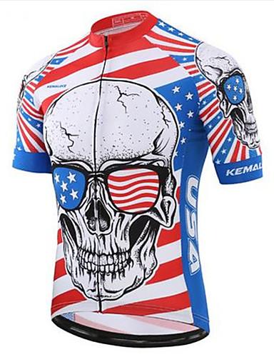 5b085d30f27 Men's Short Sleeve Cycling Jersey Red+Blue Skull Bike Top Quick Dry Sports  Terylene Clothing Apparel / Micro-elastic