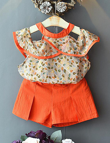 סט של בגדים ללא שרוולים טלאים / דפוס דפוס / טלאים פעיל / סגנון רחוב בנות ילדים