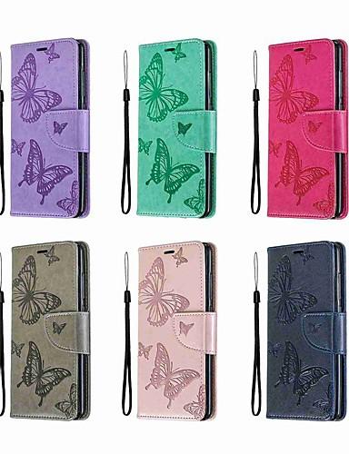 Кейс для Назначение Nokia Nokia 5.1 / Nokia 4.2 / Nokia 3.1 Кошелек / Бумажник для карт / со стендом Чехол Однотонный / Бабочка Твердый Кожа PU