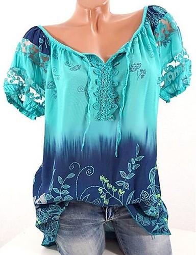 זול לבוש עליון במידות גדולות לנשים-פרחוני צווארון V משוחרר בסיסי מידות גדולות טישרט - בגדי ריקוד נשים פוקסיה XXXL