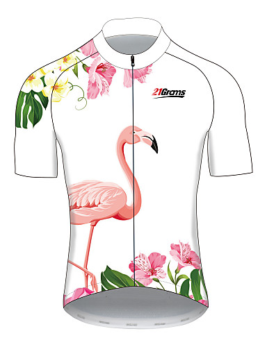 4424537126ba 21Grams Women's Short Sleeve Cycling Jersey White Flamingo Floral Botanical  Bike Jersey Top Breathable Quick Dry Reflective Strips Sports 100%  Polyester ...