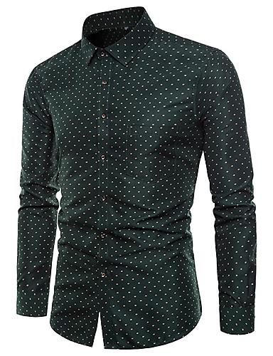 מנוקד / גראפי / שבטי צווארון קלאסי פאנק & גותיות מועדונים חולצה - בגדי ריקוד גברים דפוס ירוק בהיר / שרוול ארוך
