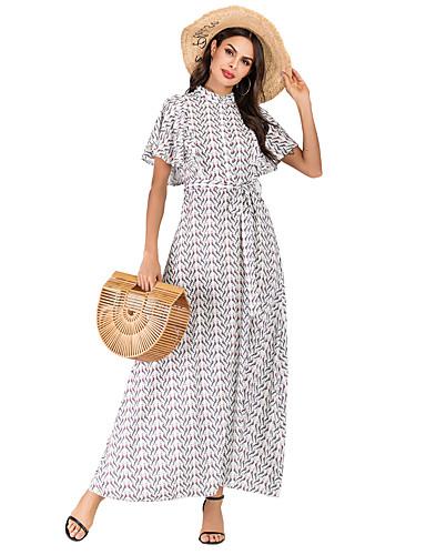 abordables Robes Femme-Femme Bohème Elégant Maxi Trapèze Robe - Imprimé, Fleur Blanc L XL XXL Manches Courtes
