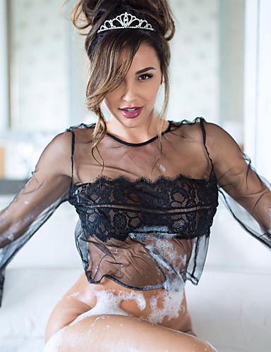 בגדי ריקוד נשים חצאיות - אחיד תחרה / גב חשוף שחור XL XXL XXXL / מדים וחלוקים / סופר סקסי