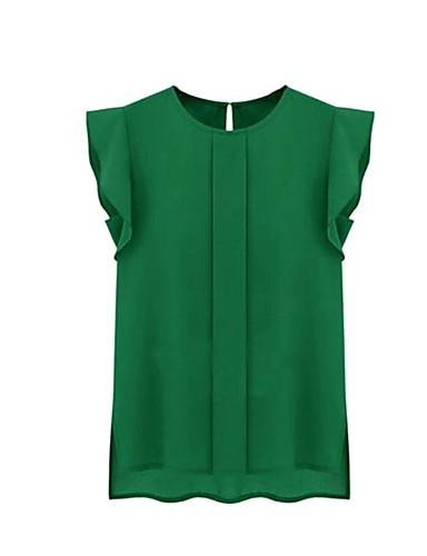 abordables Hauts pour Femme-Tee-shirt Femme, Couleur Pleine Plissé Basique Vert