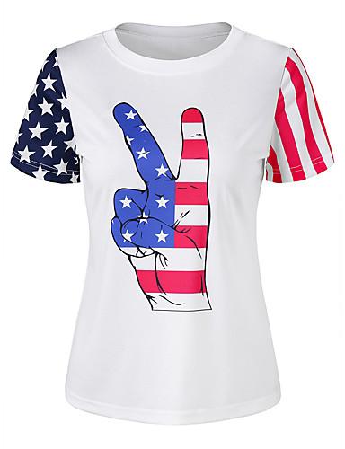 halpa Etniset & Cultural Puvut-Aikuisten Naisten Cosplay Amerikan lippu Cosplay-Asut T-paita Käyttötarkoitus Halloween Arki-asut Puuvilla T-paita Itsenäisyyspäivä