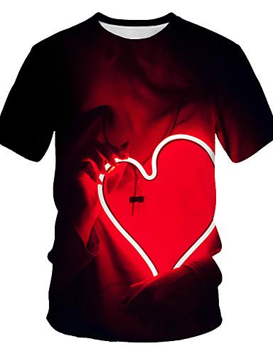 cheap Men's Clothing-Men's Daily Wear Street Basic / Punk & Gothic EU / US Size T-shirt - Color Block / 3D / Graphic Print Round Neck Black / Short Sleeve