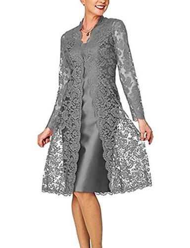 abordables Robes de Fête-Deux Pièces Bijoux Mi-long Polyester / Dentelle Deux Pièces Soirée Cocktail Robe avec Insert de Dentelle par LAN TING Express
