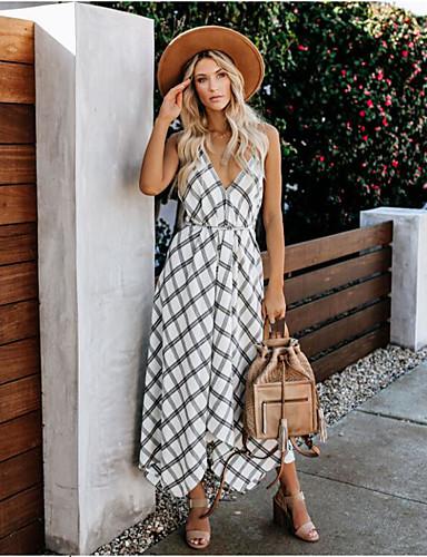baratos Vestidos Longos-Mulheres Boho Moda de Rua Bainha balanço Vestido - Frente Única, Quadriculada Médio