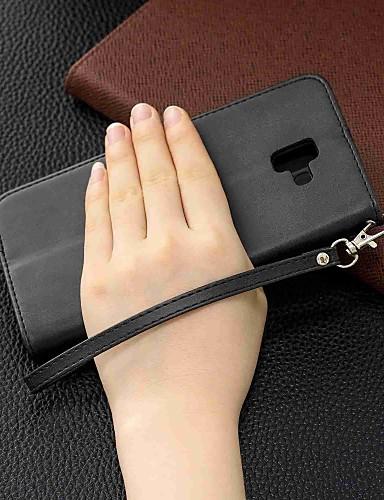 מגן עבור Samsung Galaxy J7 (2017) / J6 (2018) / J5 (2017) ארנק / מחזיק כרטיסים / עמיד בזעזועים כיסוי מלא אחיד קשיח עור PU
