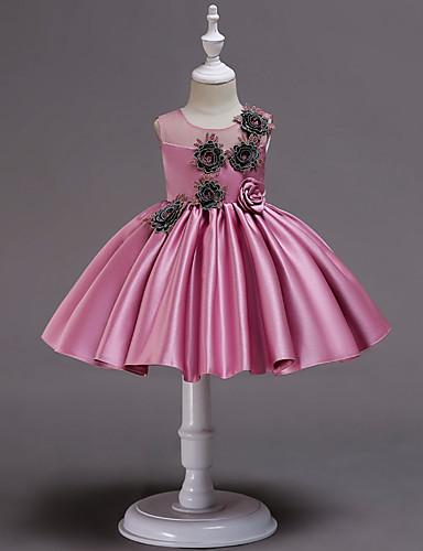 נסיכה מעל הברך שמלה לנערת הפרחים  - כותנה / סאטן / טול ללא שרוולים עם תכשיטים עם אפליקציות / חגורה על ידי LAN TING Express