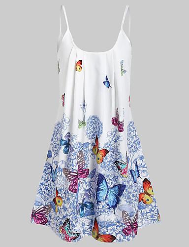 povoljno Ženska odjeća-Žene Boho Ulični šik Skater kroj Haljina - Print, Geometrijski oblici Iznad koljena
